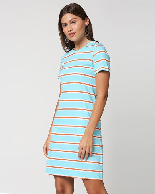 Shop Beach Blue Stripe T-Shirt Dress-Design