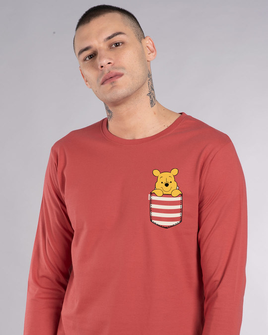 Shop Stripe Pocket Pooh Full Sleeve T-Shirt (DL)-Front