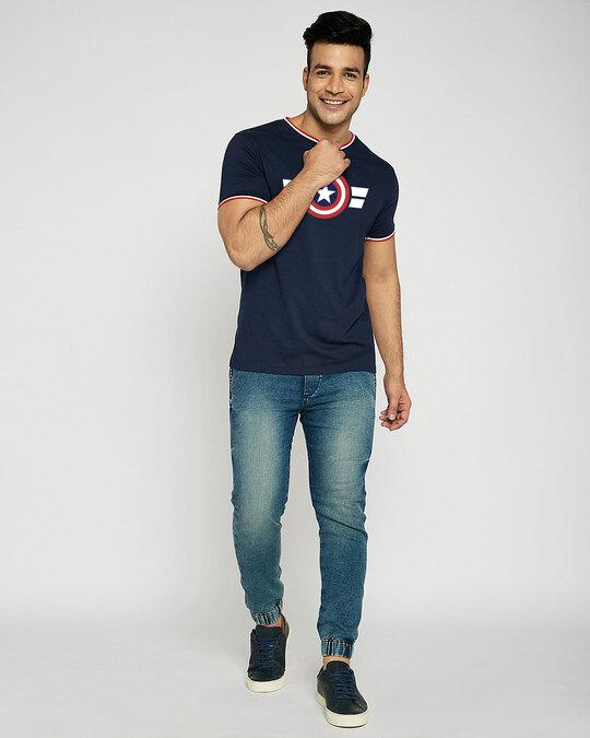 Shop Striped Captain America Crewneck Varsity Rib H/S T-Shirt (AVL)-Multicolor-Full