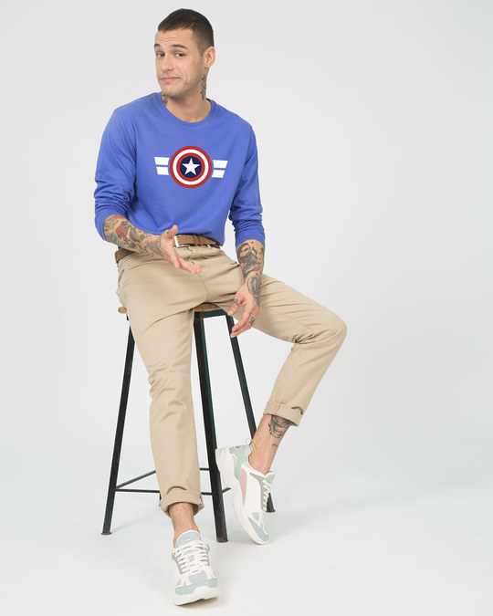 Shop Striped Captain America Full Sleeve T-Shirt (AVL)-Full