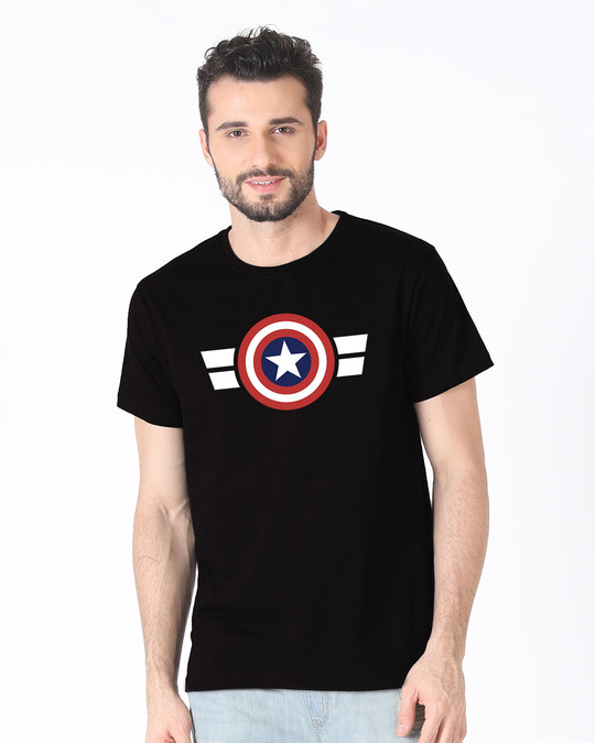 Shop Striped Captain America Half Sleeve T-Shirt (AVL)-Back