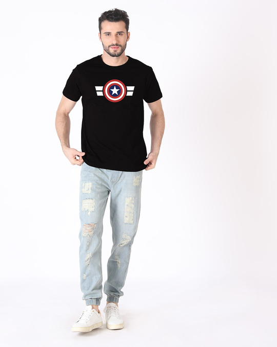 Shop Striped Captain America Half Sleeve T-Shirt (AVL)