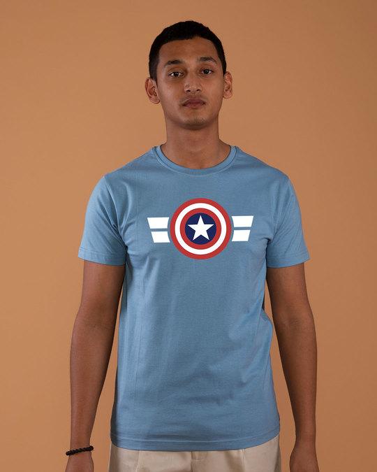 Shop Striped Captain America Half Sleeve T-Shirt (AVL)-Back