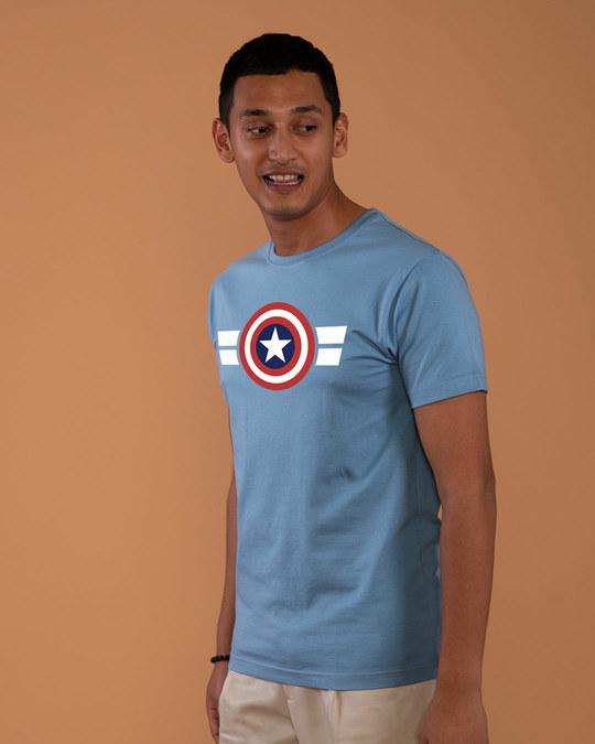 Shop Striped Captain America Half Sleeve T-Shirt (AVL)-Full
