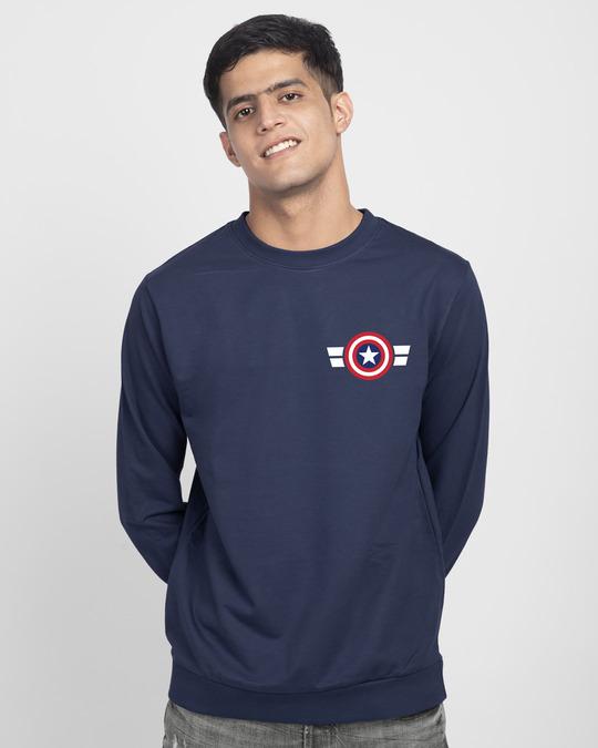 Shop Striped Captain America Printed Badge Fleece Light Sweatshirt (AVL)-Back