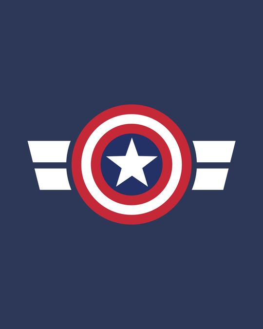 Shop Striped Captain America Printed Badge Fleece Sweater (AVL)
