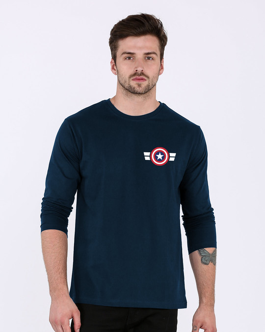 Shop Striped Captain America Printed Badge Full Sleeve T-Shirt (AVL)-Back