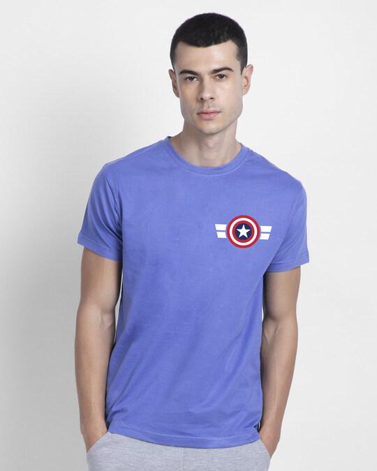 Shop Striped Captain America Printed Badge Half Sleeve T-Shirt (AVL)-Back