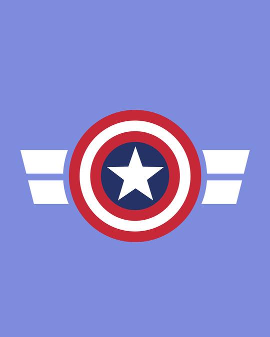 Shop Striped Captain America Printed Badge Half Sleeve T-Shirt (AVL)