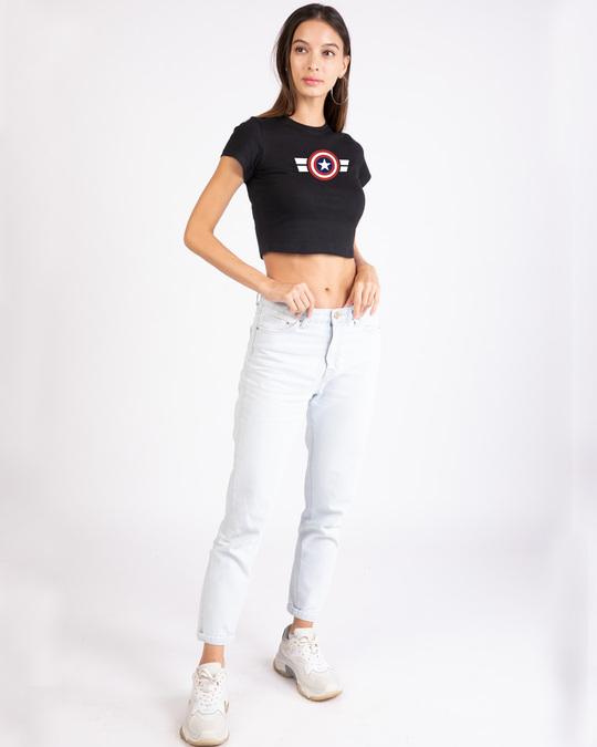 Shop Striped Captain America Round Neck Crop Top T-Shirt (AVL)-Design