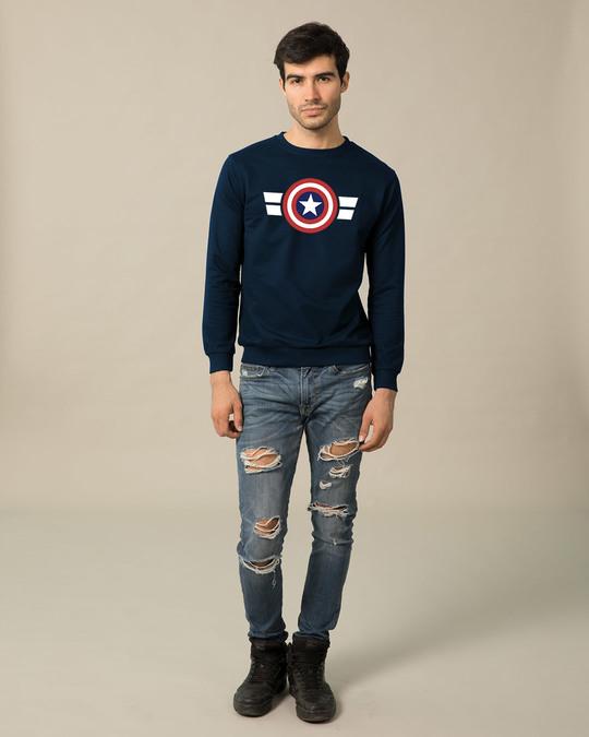 Shop Striped Captain America (AVL) Fleece Sweater-Design