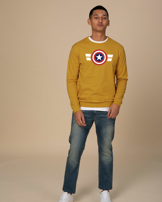 Shop Striped Captain America  Sweatshirt (AVL)-Design