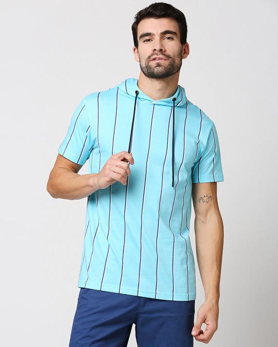 Shop Beach Blue Stripe Half Sleeve Hoodie T-Shirt-Back