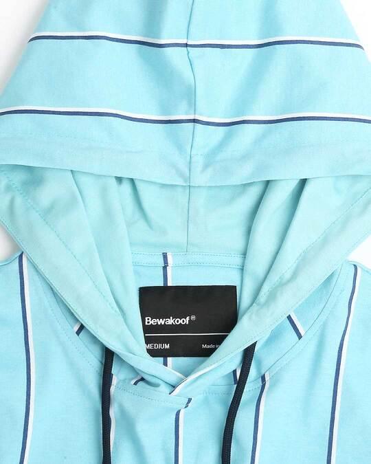 Shop Beach Blue Stripe Half Sleeve Hoodie T-Shirt