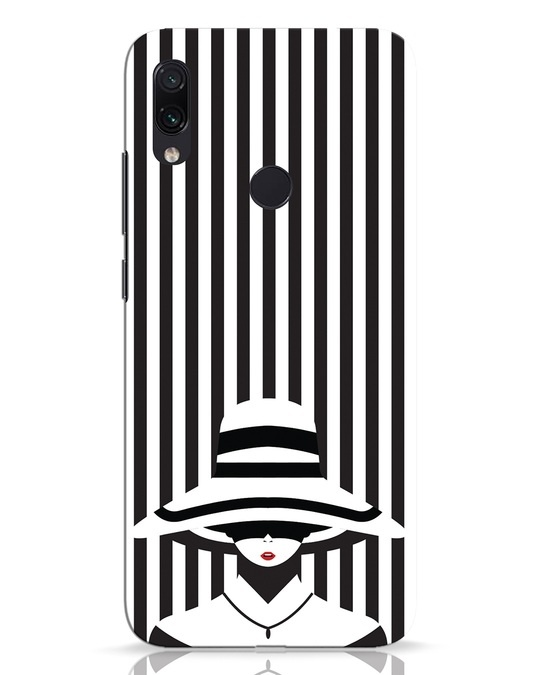 Shop Stripes Lady Xiaomi Redmi Note 7 Pro Mobile Cover-Front