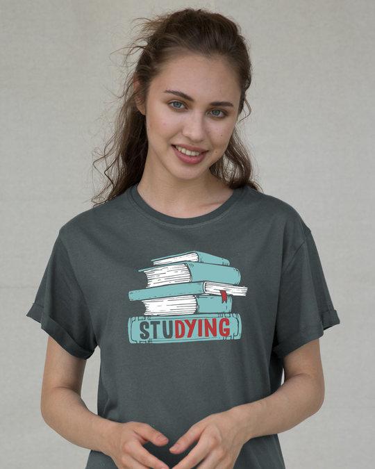 Shop Studying Boyfriend T-Shirt-Front