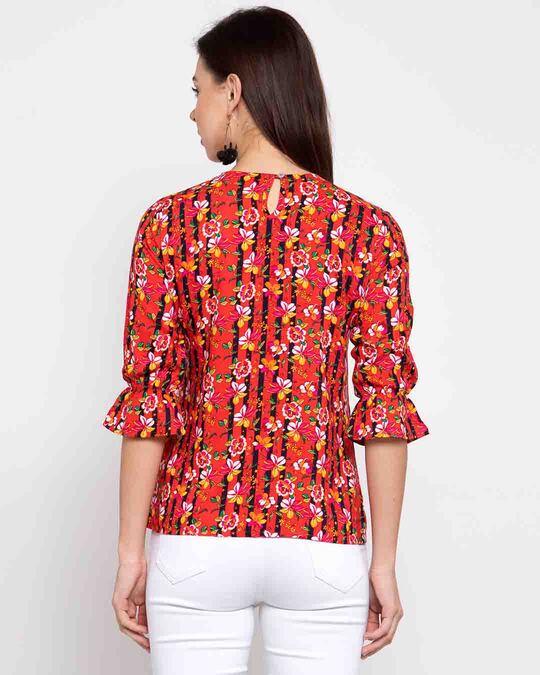 Shop Coral Orange Floral Printed Top-Design