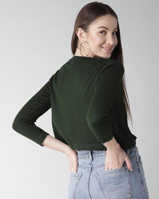 Shop Style Quotient Green Solid Crop Shrug-Design