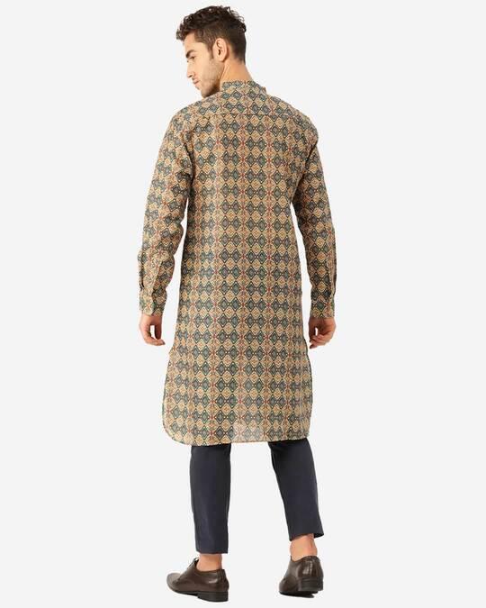 Shop Style Quotient Men Beige & Blue Ethenic Printed Straight Kurta-Design