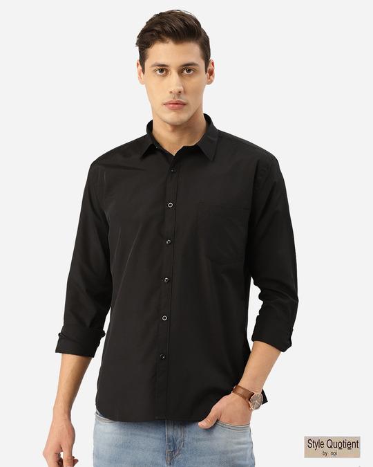 Shop Men Black Solid Classic Shirt-Front