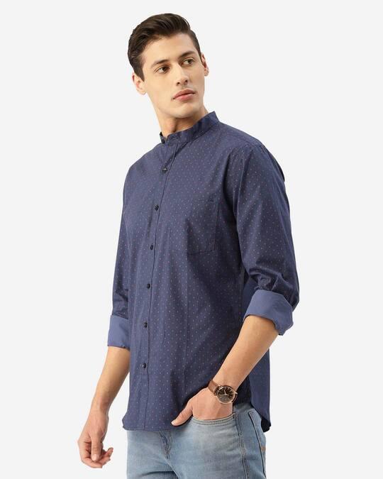 Shop Style Quotient Men Blue & Pink Geometric Print Smart Shirt-Back