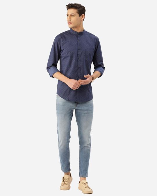 Shop Style Quotient Men Blue & Pink Geometric Print Smart Shirt-Full