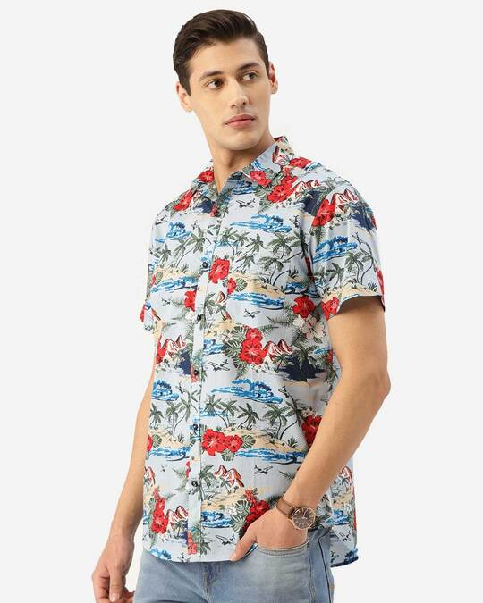 Shop Style Quotient Men Blue & Red Floral Print Boxy Fit Smart Shirt-Back