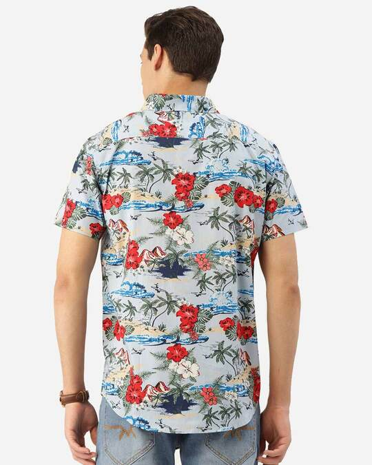 Shop Style Quotient Men Blue & Red Floral Print Boxy Fit Smart Shirt-Design