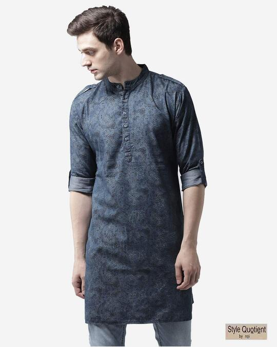 Shop Style Quotient Men Blue Printed Denim Straight Kurta-Front