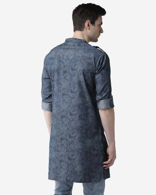 Shop Style Quotient Men Blue Printed Denim Straight Kurta-Design