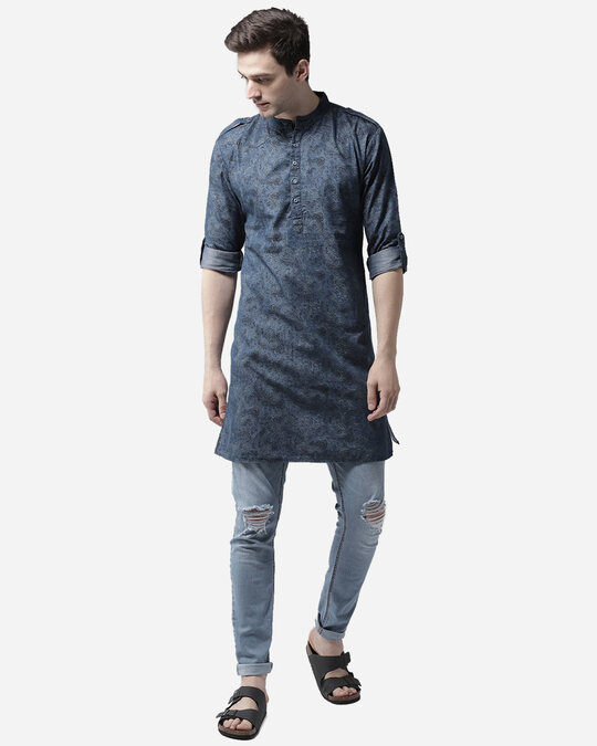 Shop Style Quotient Men Blue Printed Denim Straight Kurta-Full