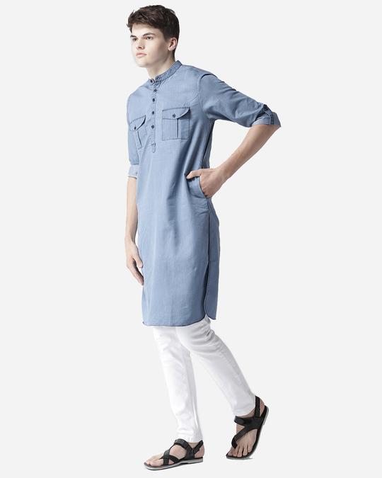 Shop Men Blue Solid Denim Pathani Kurta-Full