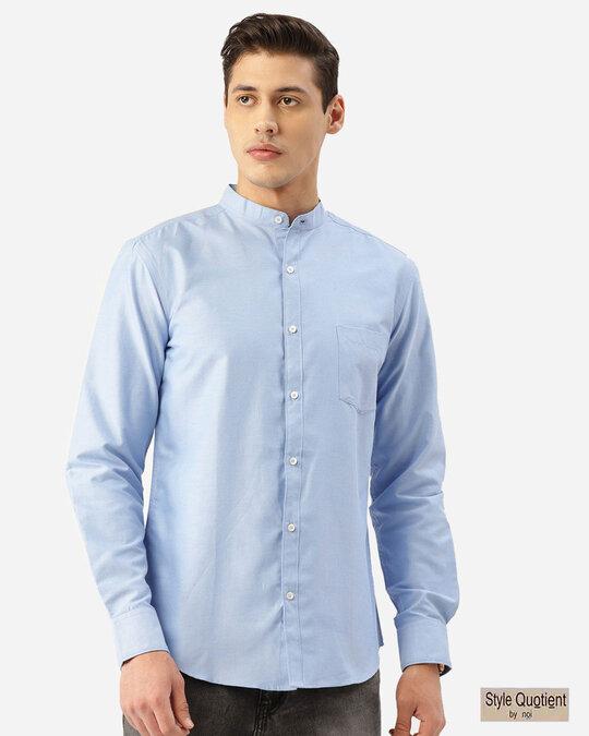 Shop Style Quotient Men Blue Solid Smart Shirt-Front
