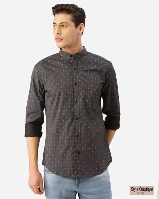 Shop Men Charcoal Grey & Blue Paisley Print Smart Shirt-Front