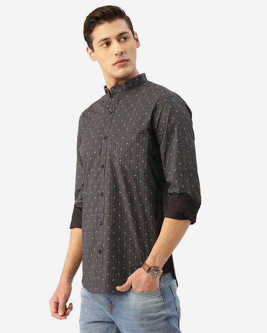 Shop Men Charcoal Grey & Blue Paisley Print Smart Shirt-Back