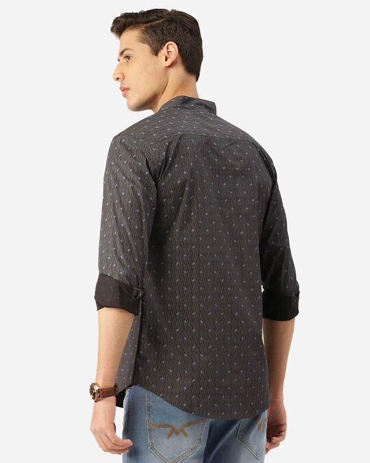 Shop Men Charcoal Grey & Blue Paisley Print Smart Shirt-Design