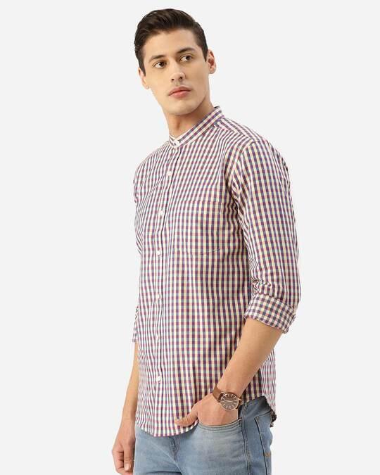 Shop Men Cream Coloured & Blue Checked Smart Shirt-Back