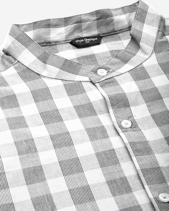 Shop Style Quotient Men Grey & White Checked Smart Shirt