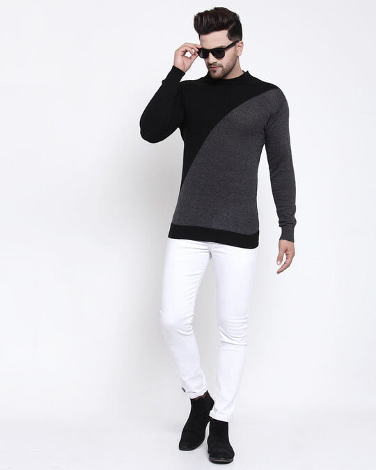 Shop Men Grey Solid Pullover Sweater-Full