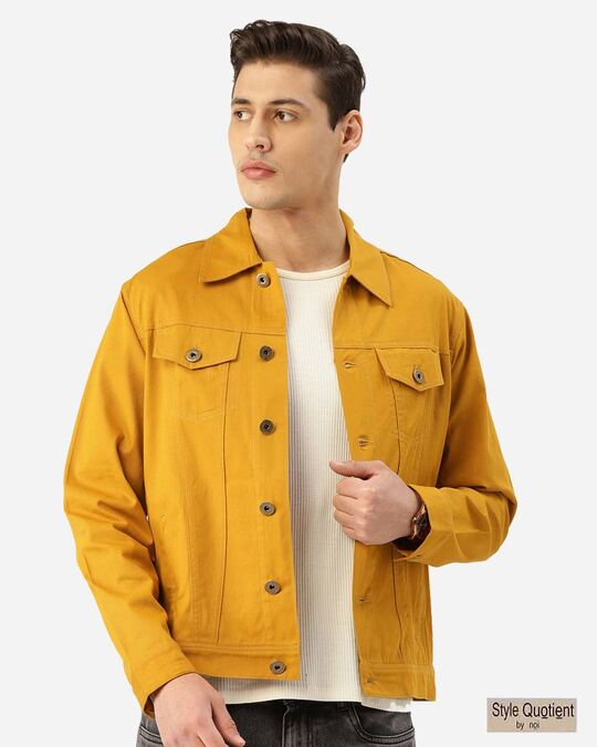 Shop Style Quotient Men Mustard Yellow Solid Denim Jacket-Front