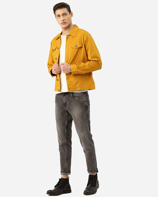 Shop Style Quotient Men Mustard Yellow Solid Denim Jacket-Full