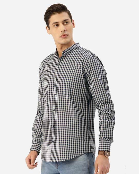 Shop Style Quotient Men Navy Blue & Grey Checked Smart Shirt-Back
