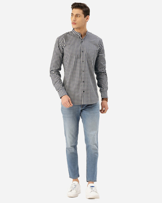 Shop Style Quotient Men Navy Blue & Grey Checked Smart Shirt-Full