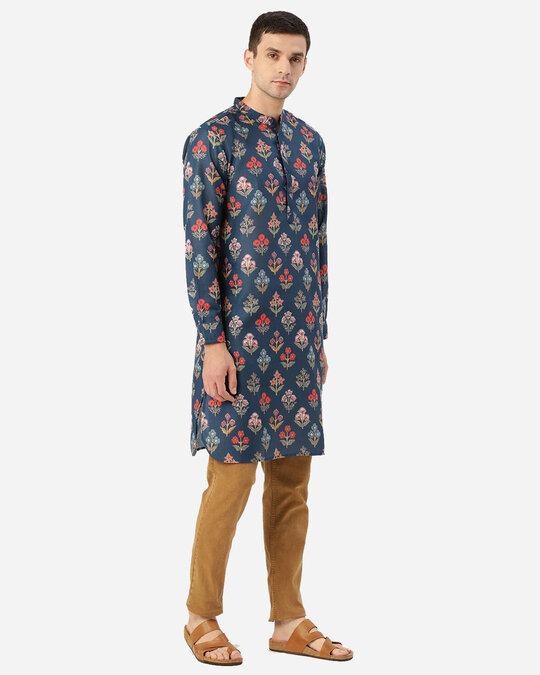Shop Men Navy Blue & Orange Ethenic Printed Straight Kurta-Back