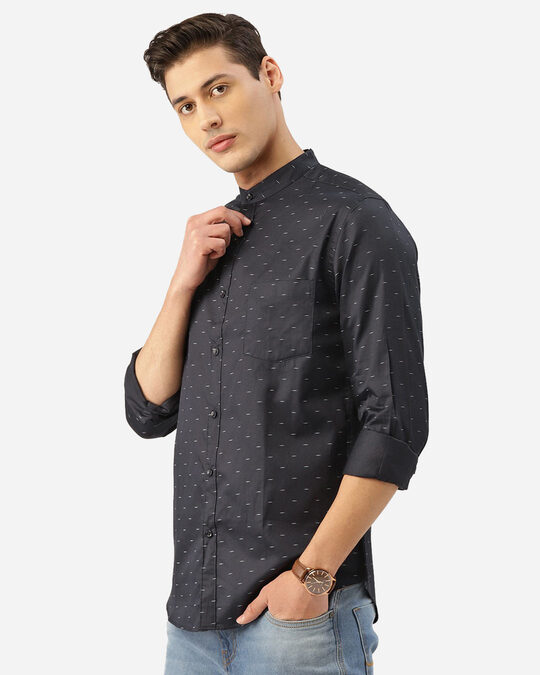 Shop Style Quotient Men Navy Blue & White Abstract Print Smart Shirt-Back