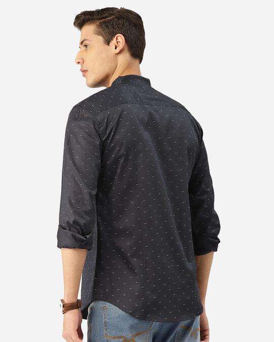 Shop Men Navy Blue & White Abstract Print Smart Shirt-Design