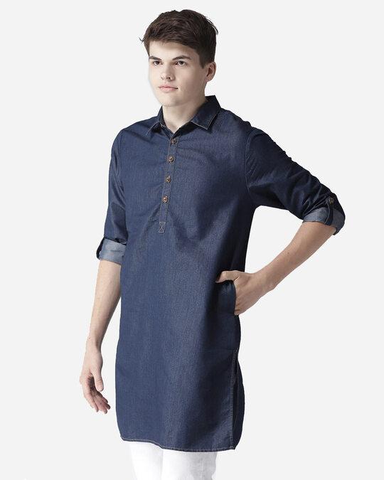 Shop Style Quotient Men Navy Blue Solid Denim Straight Kurta-Back