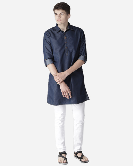 Shop Style Quotient Men Navy Blue Solid Denim Straight Kurta-Full