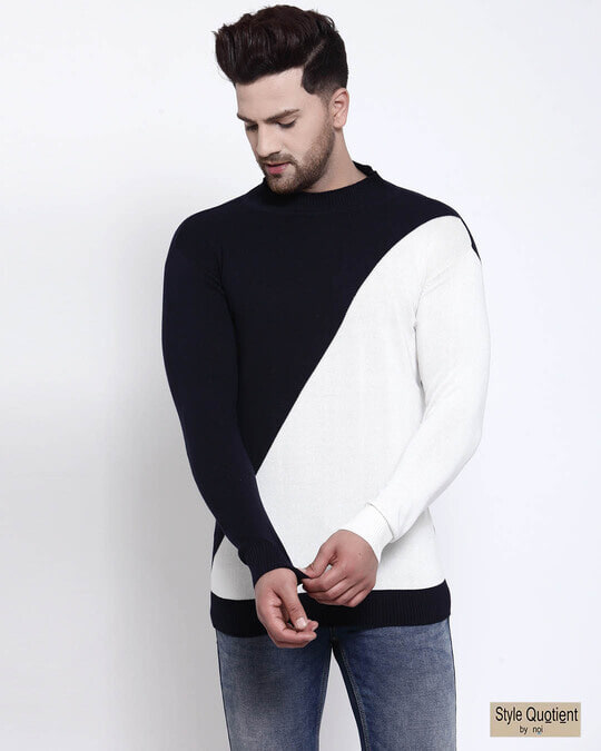 Shop Men Navy Blue Solid Pullover Sweater-Front