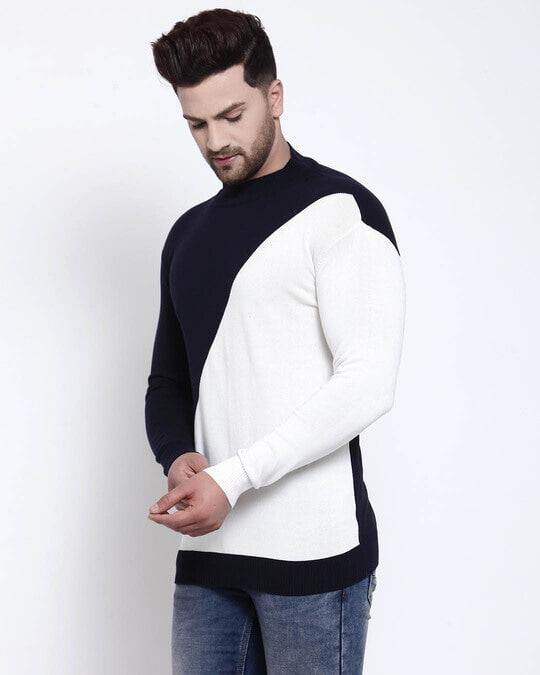 Shop Men Navy Blue Solid Pullover Sweater-Back